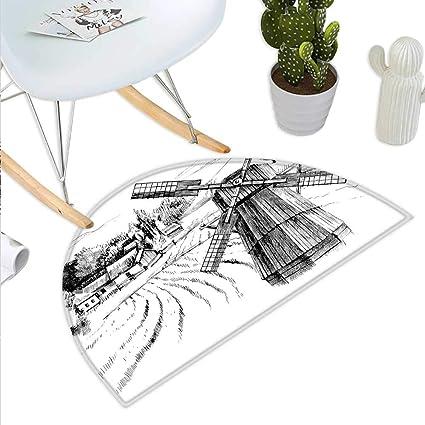 Amazon com : Anniutwo Landscape Half Round Door mat Hand Drawn Rural
