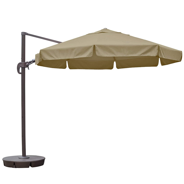 Island Umbrella NU6545 Freeport Octagon Cantilever with Valance in Sunbrella Acrylic, 11 , Beige