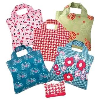 Envirosax Spring Fever Pouch, Set of 5 Reusable Shopping Bags