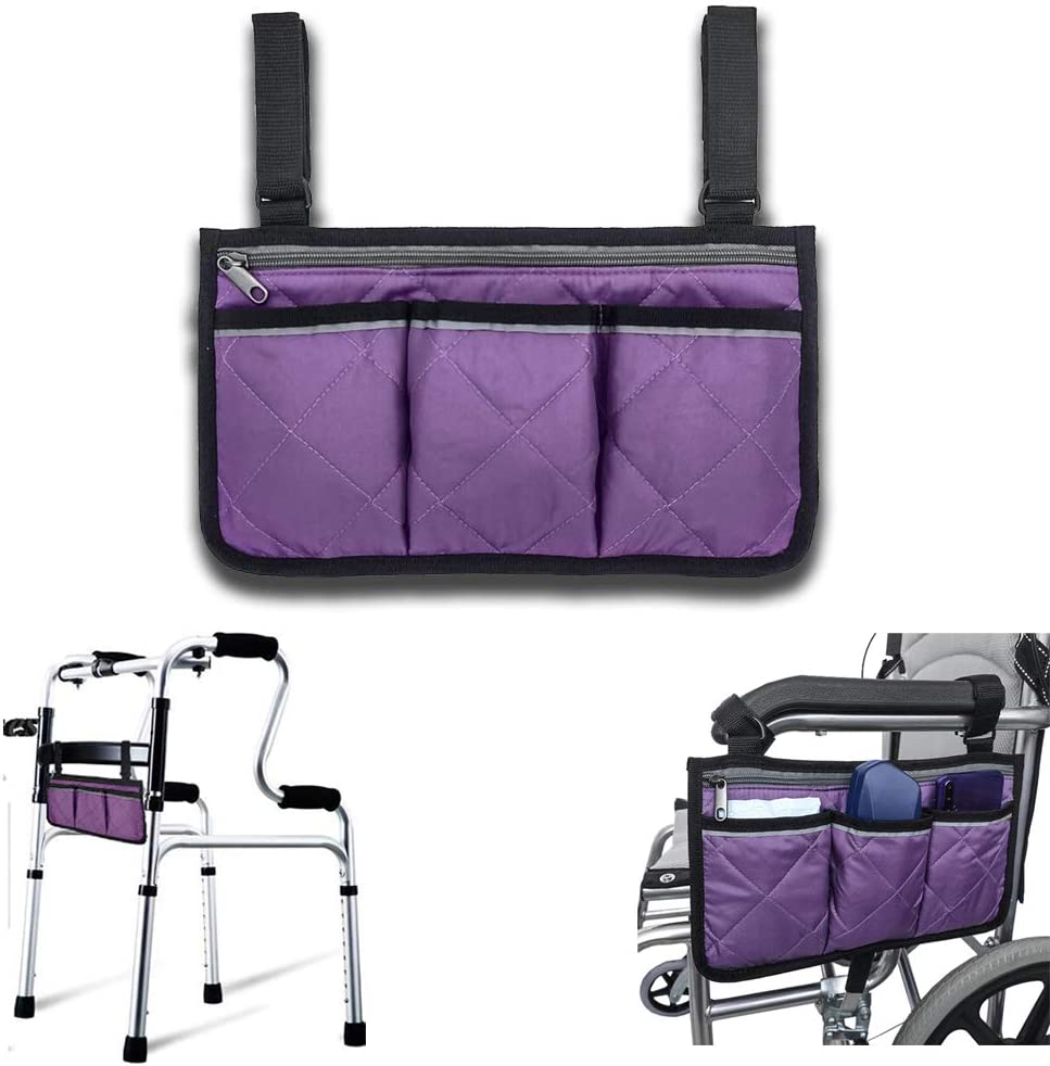 Wheelchair Accessories, Purple Waterproof Wheelchair Bags to Hang on Back with Bright Line Black Storage Organizers for Home/Outdoor/Baby Cart (Purple Side): Health & Personal Care
