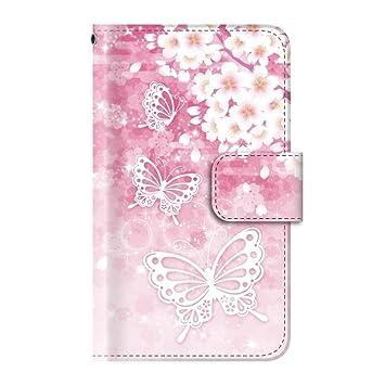 b9d71ab90f Amazon | 桜 花 和柄 (手帳型)【01.桜花盛りに舞う蝶々】/ iPhone7 ...