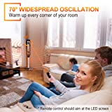 TRUSTECH Oscillating Ceramic Tower Heater 34 Inch & 1500W with Remote Control, Overheating & Tip-Over Protection Adjustable Thermostat, 8H Timer for Home Office Whole Room, 34-inch, Black