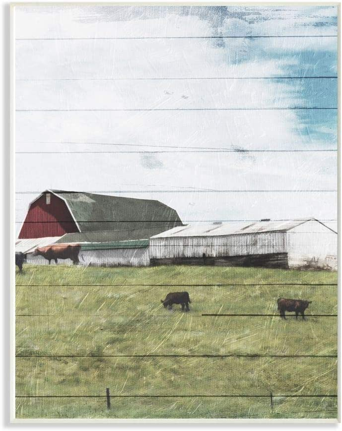 Stupell Industries Rustic Farm Landscape Wood Textured Painting Wall Plaque, 10 x 15, Multi-Color