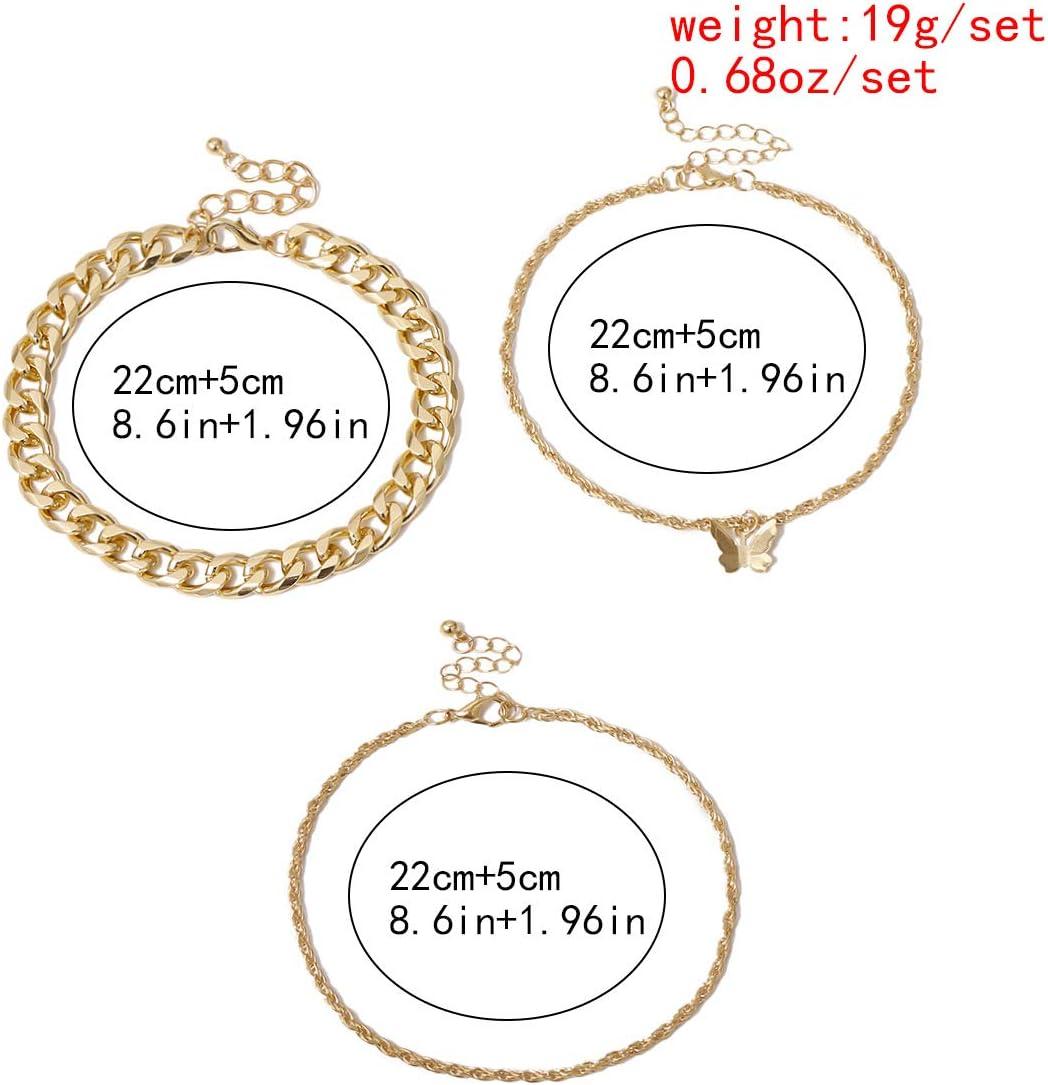 HONGYAN 3 Pcs//Ensemble Cha/înes Papillon Pendentif Bracelets De Cheville pour Les Femmes Couleur Or////Épais Cheville Cha/îne Mode Pied Bijoux