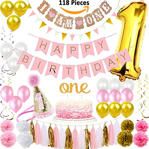 FunDeco Party 1st Birthday Decorations for Girls | Pink and Gold Girl Theme Kit Set | First Bday Hat, One' Cake Topper, Foil and Latex Balloons, Banner x 2, Pom (Party Decorations For Girl)