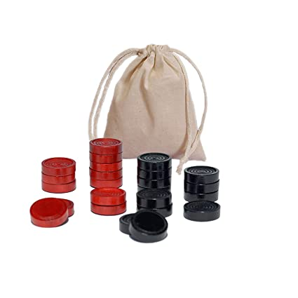 WE Games Wood Backgammon Chips with Cloth Pouch - Red & Black 1.5 in. diameter