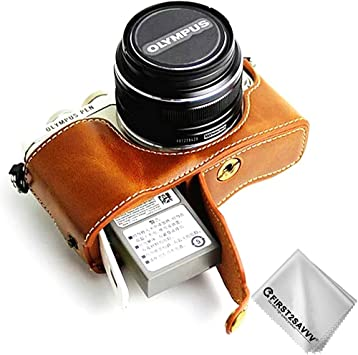Amazon Com First2savvv Leather Half Camera Case Bag Cover Base For Olympus Pen E Pl9 E Pl8 E Pl7 Cleaning Cloth Xjd Epl9 D09 Camera Photo