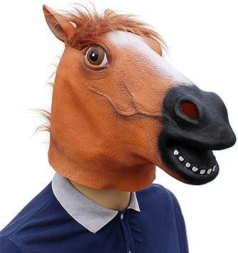 Hankyky Máscara de Animal de Cabeza de Caballo, máscara de Disfraz ...