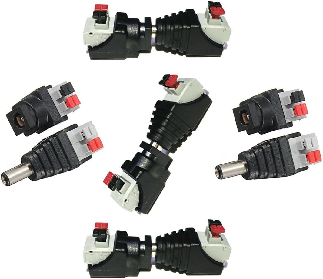 Liwinting 5 Masculinos y 5 Femenina de Conector DC Jack de Alimentación & Conector Sin Tornillos Conector de Cable Rápido 5,5 mm x 2,1 mm DC para Tiras LED de 12V / 24V, Cámara CCTV y Más