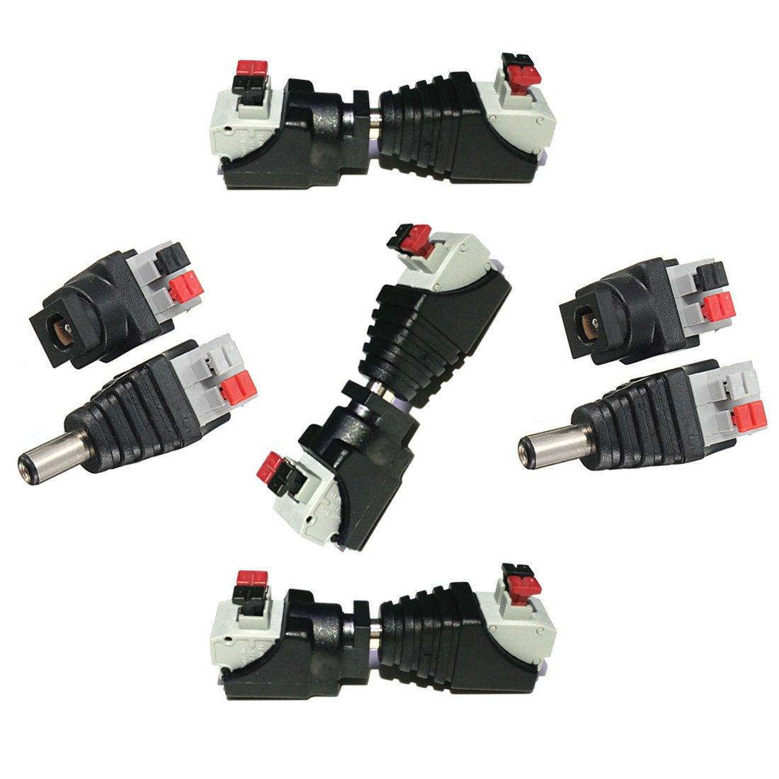 Liwinting 5 masculinos y 5 femenina de conector DC Power Jack & Conector sin tornillos Quick Wire Connector 5,5 mm x 2,1 mm DC para tiras LED de 12 V/24 V, Cá mara CCTV y má s Cámara CCTV y más ULC 11