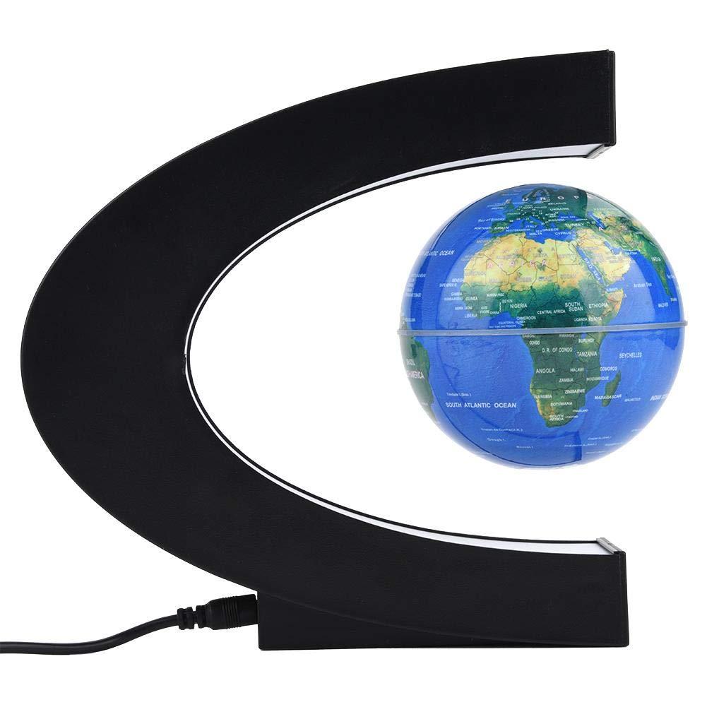 Zerodis Mappamondo Magnetico Globo Galleggiante Levitazione Magnetica Mappa Mondo Globo Rotante con C Shape Base e Luce LED per Geografia Educativo Dimostrazione Decorazione Regalo Blue UU Plug