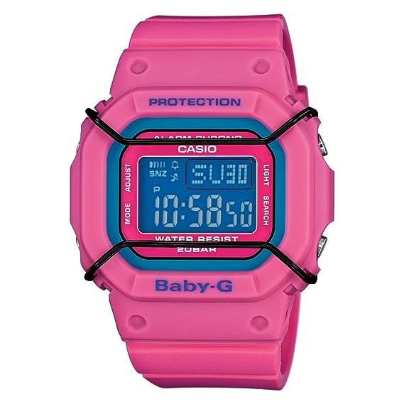 Baby G Reloj de Cuarzo para Mujer con Esfera Azul, Pantalla Digital y Correa Fucsia de Resina. BG 501 4ER: Amazon.es: Relojes