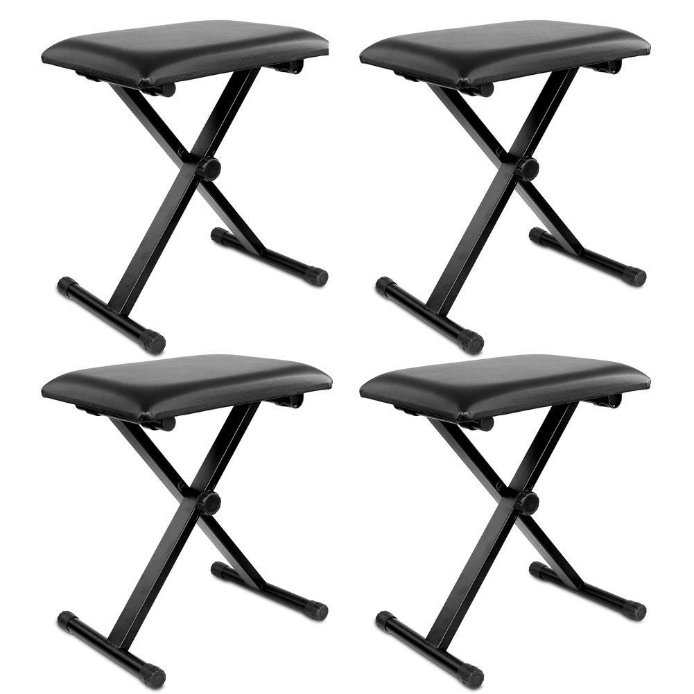Neewer® 4-Pack Black 3-Position Height Adjustment (16.5/17.5/19.5, 42cm/45cm/50cm) Folding Super-stable and Durable Padded Keyboard Benches with X-style Iron Legs