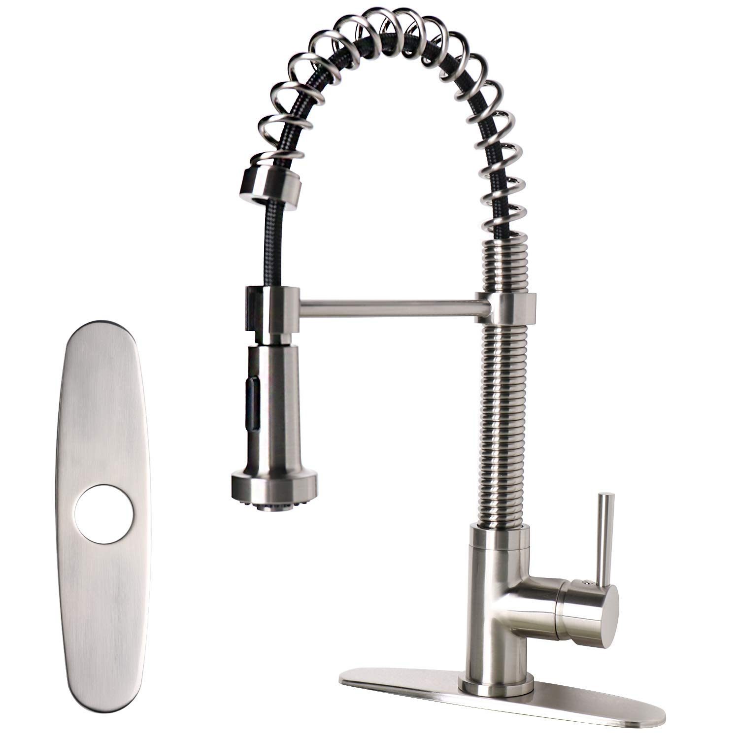 Enbol KFD503-BN Lead Free Brushed Nickel Dual Function Single Handle Lever Kitchen Faucet with Pull Out Pull Down Sprayer Spring, Solid Brass and Stainless Steel Kitchen Sink Faucet with Deck Plate