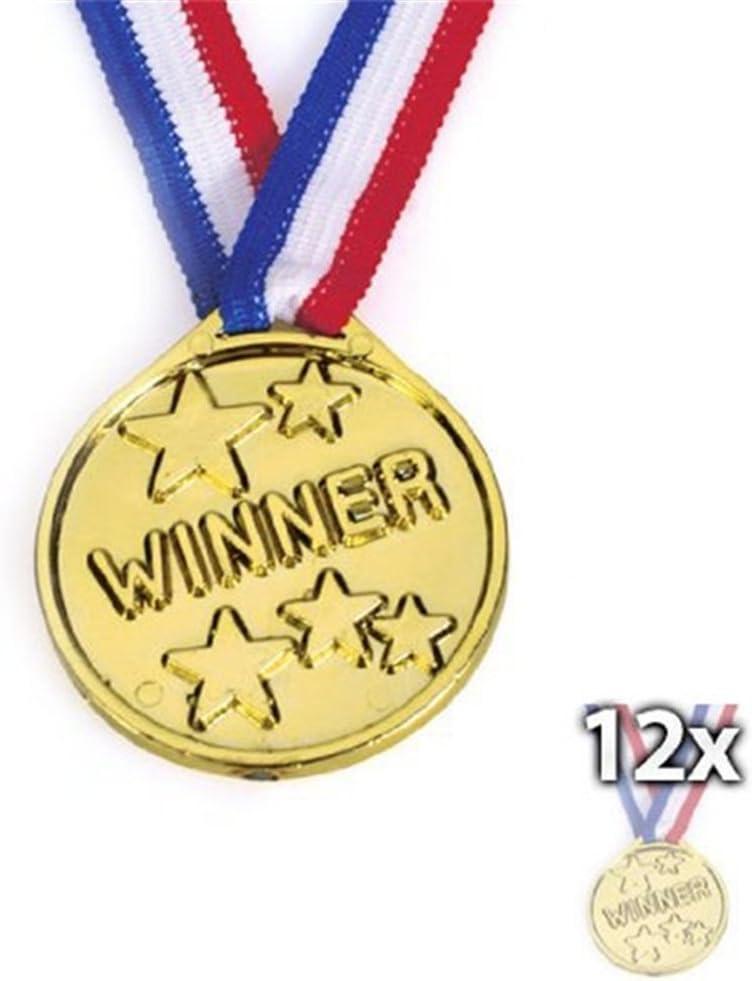 Juego de 12 medallas de plástico, para ganadores de oro olímpico, premios de juguete, regalos para niños y fiestas: Amazon.es: Hogar