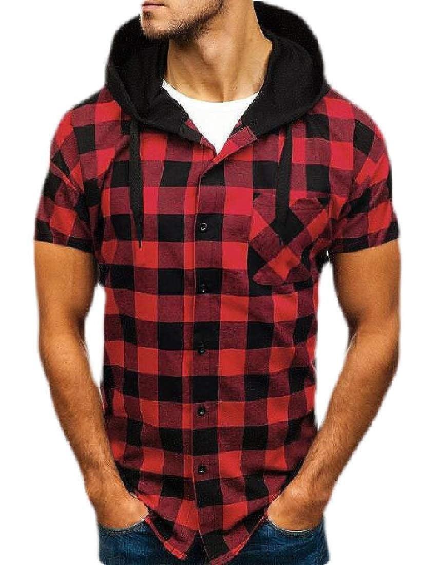 Xswsy XG Mens Lightweight Short Sleeve Button Down Shirt Plaid Hooded Shirts