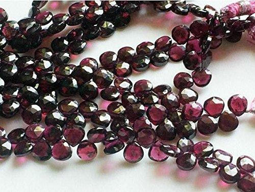 Red Garnet faceted heart shape beads 6-7mm, Garnet briolettes, Garnet stone 8
