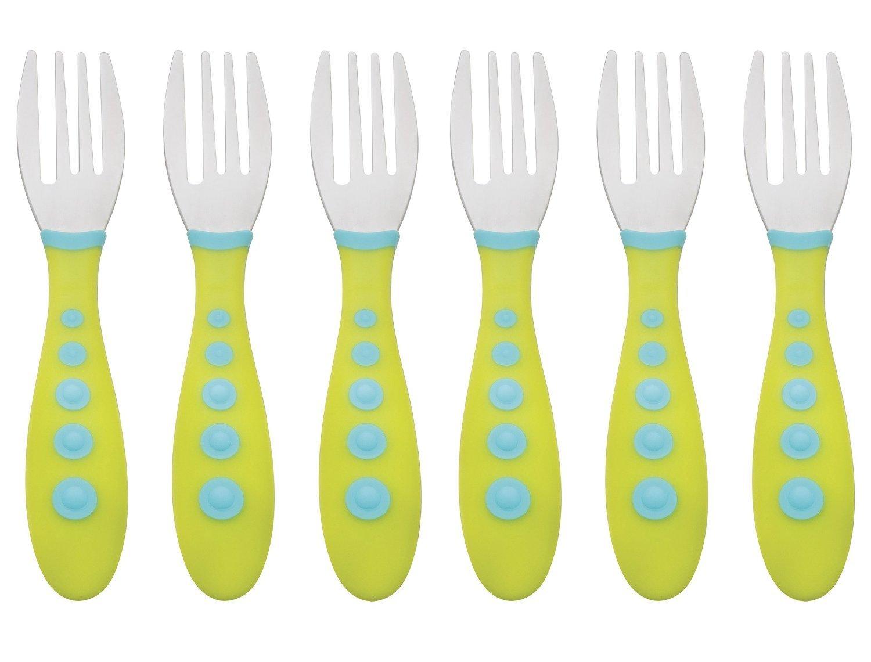 Gerber Stainless Steel Tip Kiddy Cutlery Forks - 6 Pack, Green