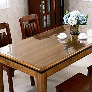 ETECHMART Clear PVC Table Top Protector Waterproof Tablecloth Thicken 2.0mm