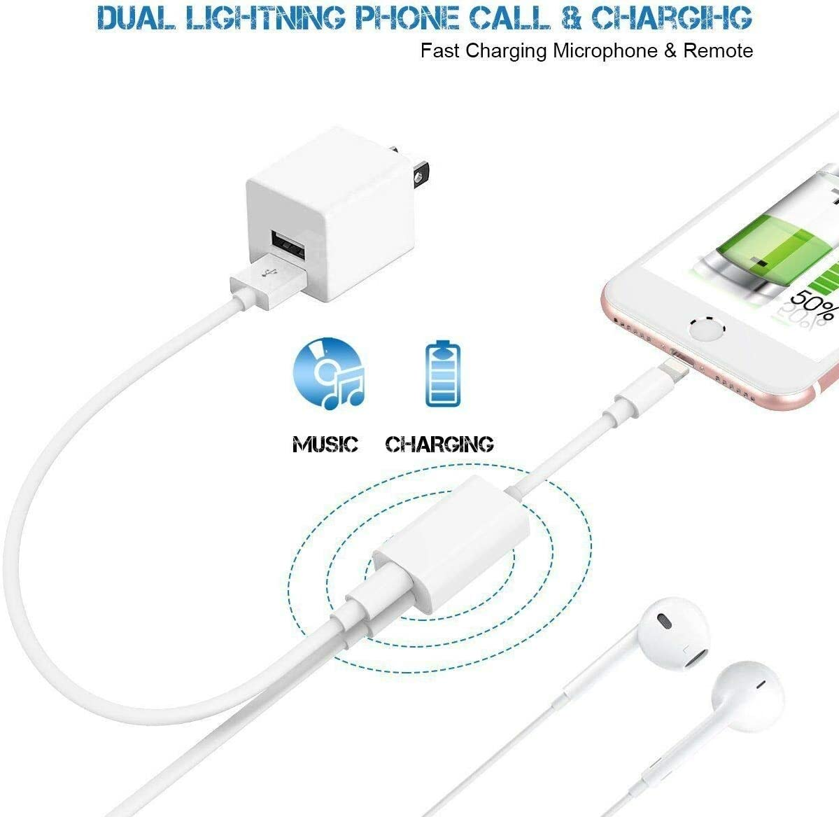 Belcompany for iPhone Headphone Adapter /& Splitter,2 in 1 Dual Lightning Headphone Jack AUX Audio and Charge Adaptor Dongle Cable Compatible with iPhone 11//Xs Max//XR//X//8//7,Support All iOS System