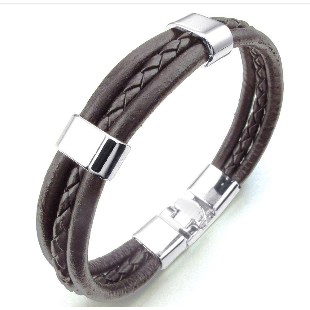 TEMEGO Jewelry Mens Womens Genuine Leather Braided Rope Bracelet, Punk Rock Cuff Bangle Bracelet, Brown Silver