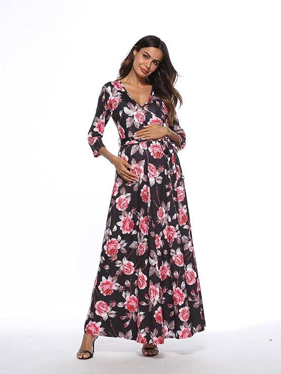 Cinnamou Accesorios de fotografía de mujeres embarazadas, Vestido de mujer embarazada con cuello en V manga Vestido de maternidad estampado Ropa premama: ...