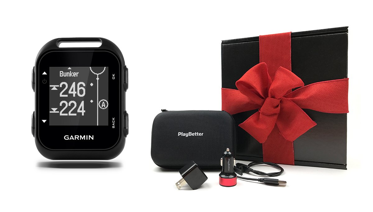 Garmin Approach G10 GIFT BOX | Bundle includes Handheld Golf GPS, PlayBetter USB Car & Wall Charging Adapters, Garmin Carrying Case, Black Gift Box and Red Bow!