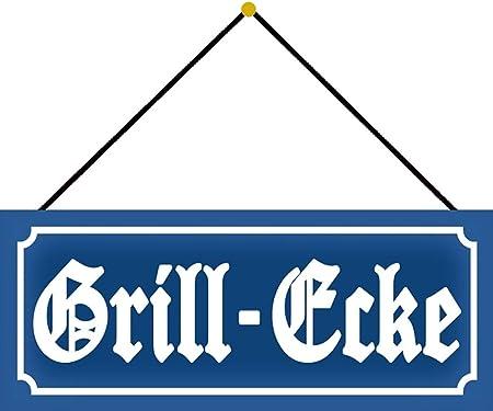 Blechschild Nostalgie Grill Ecke Grillen Metallschild 27x10 cm Deko mit Kordel
