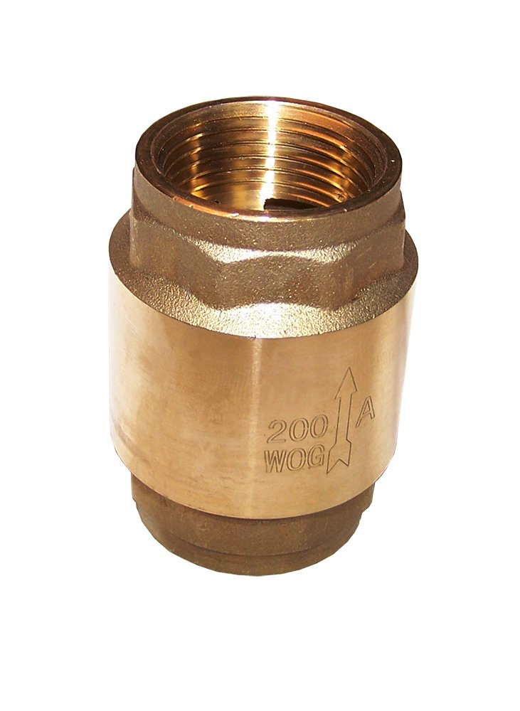 American Valve G31SL 3/4'' Lead-Free Brass Spring Loaded In-Line Check Valve with Fip Threaded Ends, 3/4''