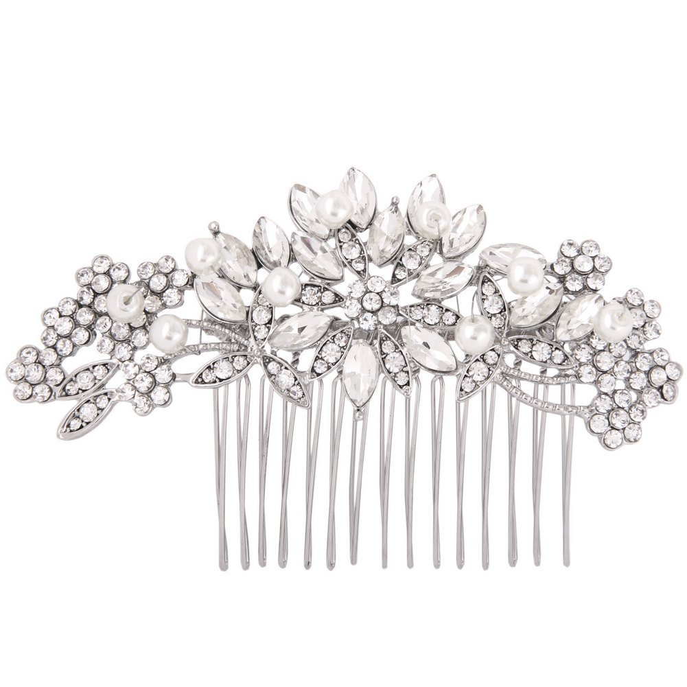 Fairy Moda Vintage Wedding Hair Accessories for Brides Crystal Simulated Pearl Bridal Hair Comb Women by Fairy Moda