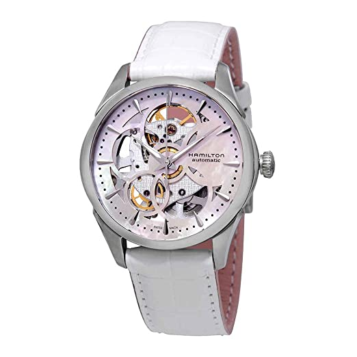 8ab30f6a7 Hamilton Women's 36mm White Leather Band Steel Case Automatic Watch  H32405871: Amazon.co.uk: Watches