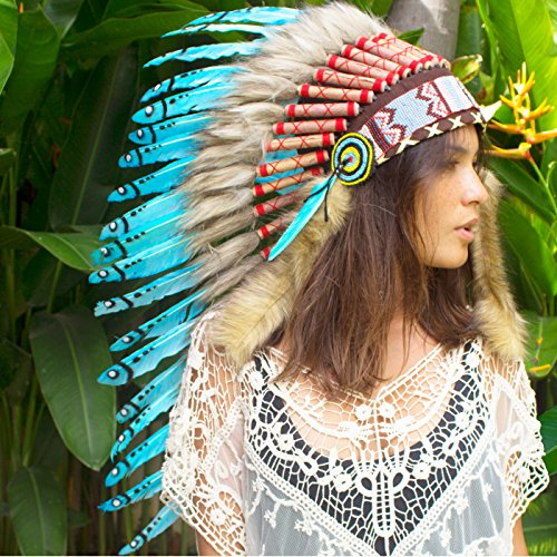 [Long Feather Headdress- Native American Indian Inspired- Handmade by Artisan Halloween Costume for Men Women with Real Feathers - Turquoise] (Red Indian Princess Costume)