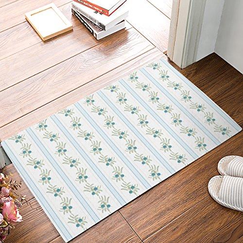 EZON-CH Doormat Modern Green Plant Leaves Vertical Stripe Print Modern Non Slip Bathroom Mat Toilet Geometry Floor Rug Tea Mat Table Mat Carpet Pad(16IN X 24IN) - Green Modern Leaf Stripe