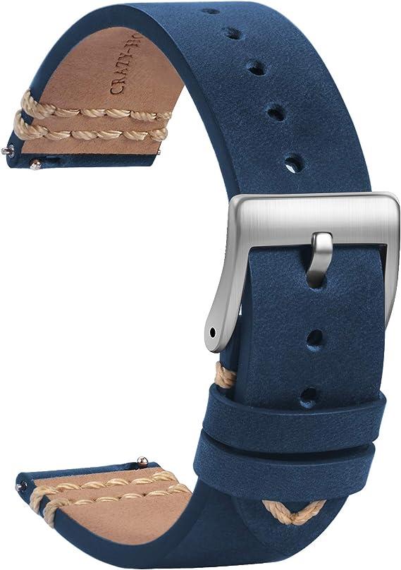 Tstrap Leder Uhrenarmband 18mm Weich Blau Quick Release Uhrenarmbänder Ersatz Sport Uhrenarmband Für Herren Damen Smartwatches Armband Mit Silber Schließe 19mm 20mm 21mm 22mm Uhren