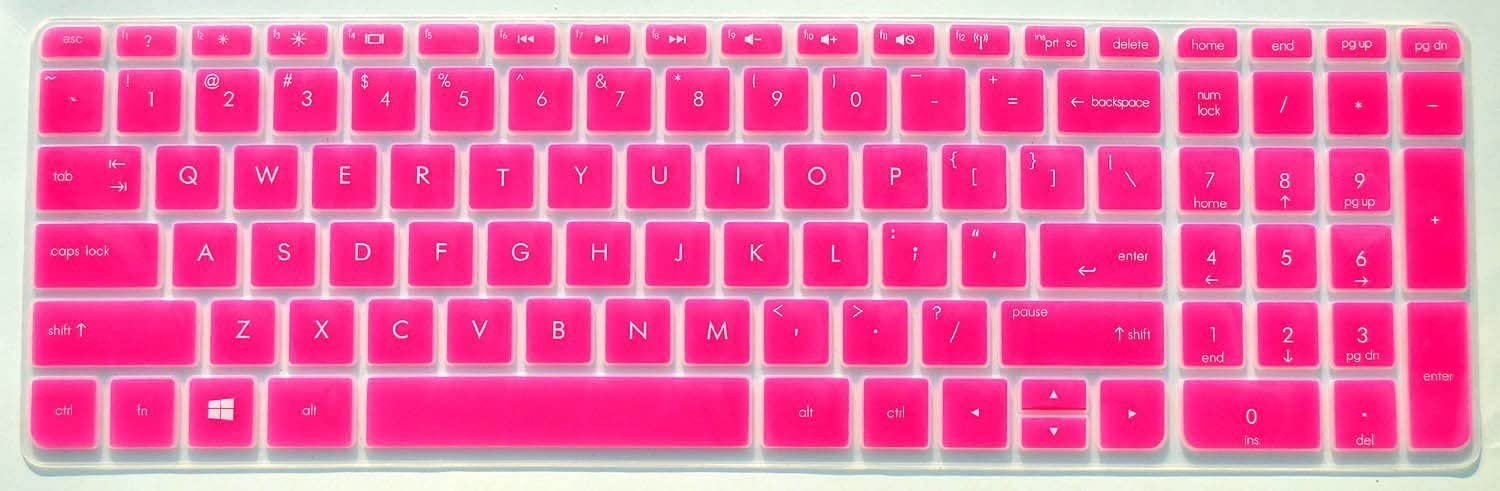 """PcProfessional Hot Pink Ultra Thin Silicone Gel Keyboard Cover for HP Envy Touchsmart 15.6 Touch Sleekbook 15.6"""" Laptop with Application Kit (Please Compare Keyboard Layout and Model)"""
