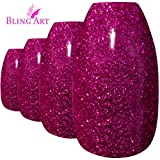 Bling Art Ballerina False Nails Fake Coffin Gel Magenta Acrylic Long Tips Glue