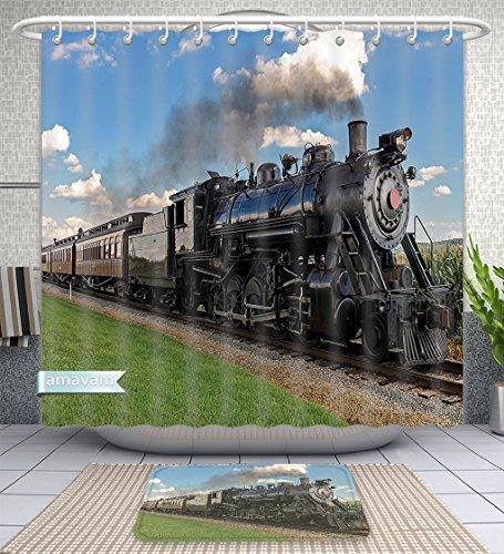 Juego de 2 piezas de alfombrillas de baño personalizables para motor de vapor rústico antiguo tren en el país Locomotora...