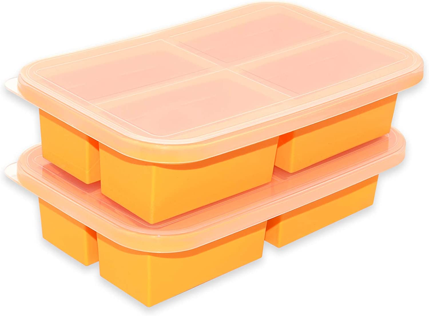 Bangp Extra-Large Silicone Freezing Tray with Lid - Soup Containers for Freezing,Storage - Large Ice Cube Tray -2 Pack- Makes 8 Perfect 1 Cup Portions - Freeze Food Soup Broth or Sauce