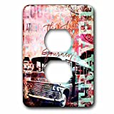 3dRose Andrea Haase Art Illustration - Travel Camper Van Mixed Media Art With Text The Joy Is In The Journey - Light Switch Covers - 2 plug outlet cover (lsp_268109_6)