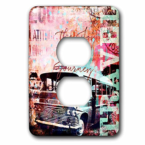 3dRose Andrea Haase Art Illustration - Travel Camper Van Mixed Media Art With Text The Joy Is In The Journey - Light Switch Covers - 2 plug outlet cover (lsp_268109_6) by 3dRose