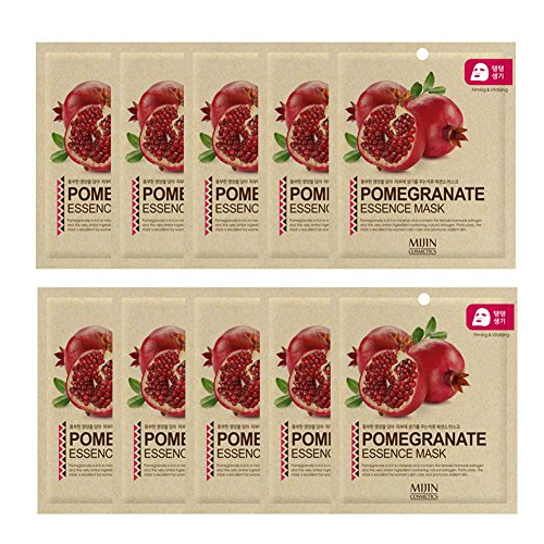 (Highly-Concentrated Pomegranate Collagen Essence Full Face Facial Mask Sheet, Korean Beauty Cosmetics, 10 Pack )