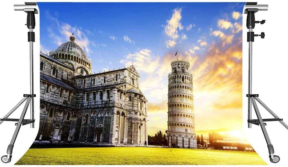 Leaning Tower of Pisa Backdrop European Building Photography Background MEETSIOY 10x7ft Themed Party Photo Booth YouTube Backdrop LXMT1080