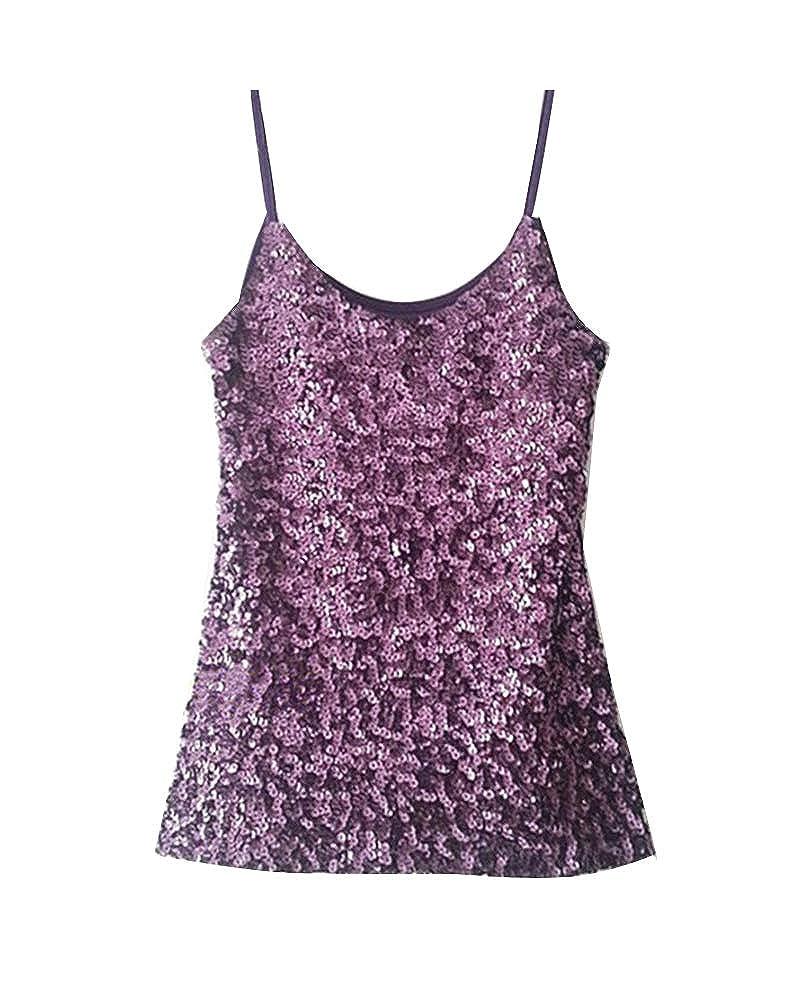 Donna Canotte Top Glitter Shirt Paillettes Camicetta Scintilla Maglietta Senza Maniche