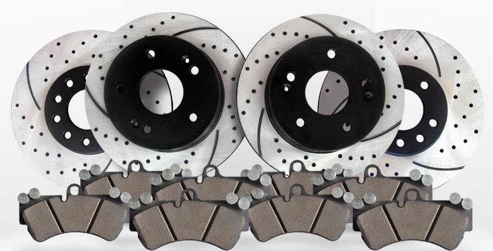 Approved Performance F16016 - [Front & Rear Kit] Performance Drilled/Slotted Brake Rotors and Ceramic Pads (4WD Models Only)