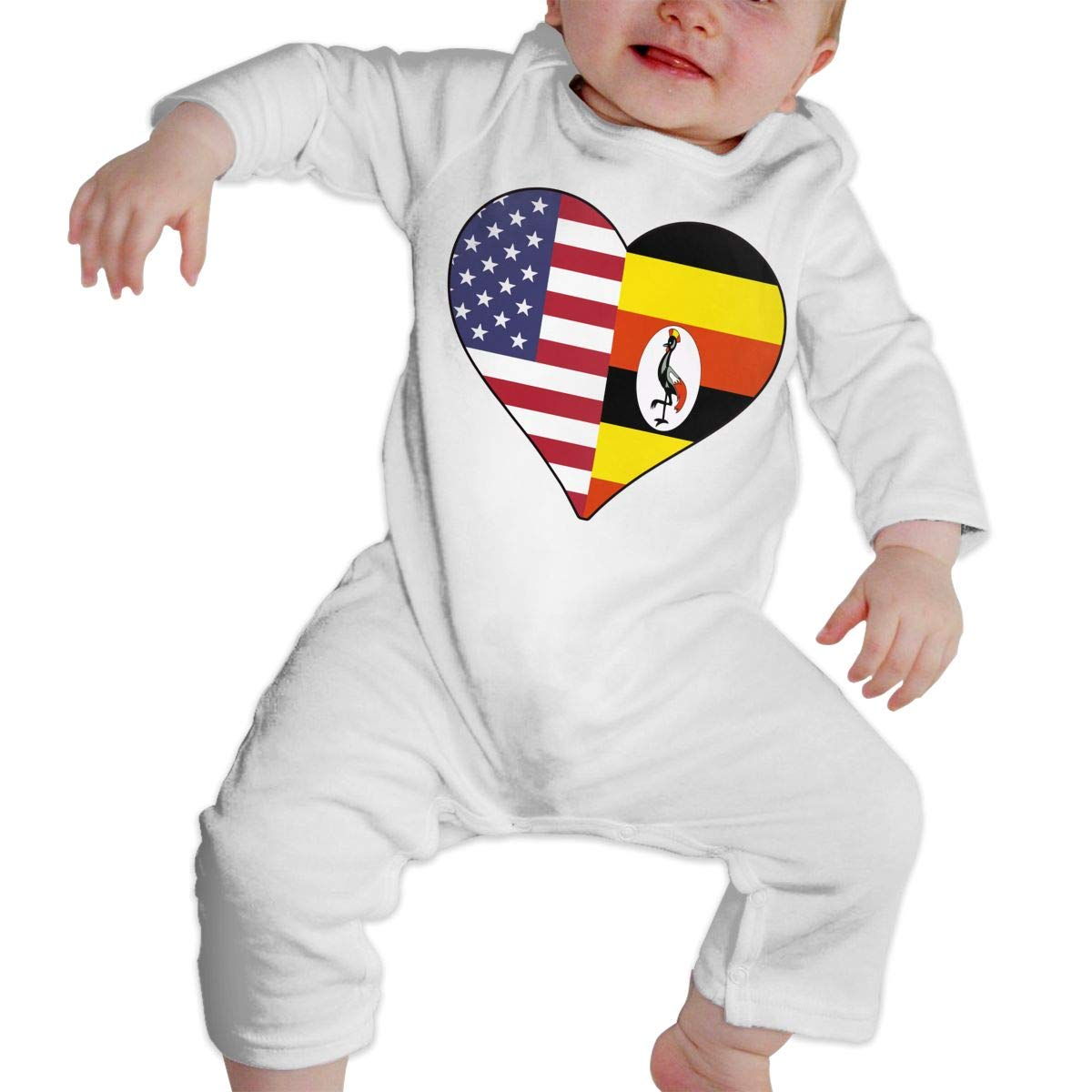 Infant Baby Girls Cotton Long Sleeve Half Uganda Flag Half USA Flag Love Heart Climb Jumpsuit Funny Printed Romper Clothes