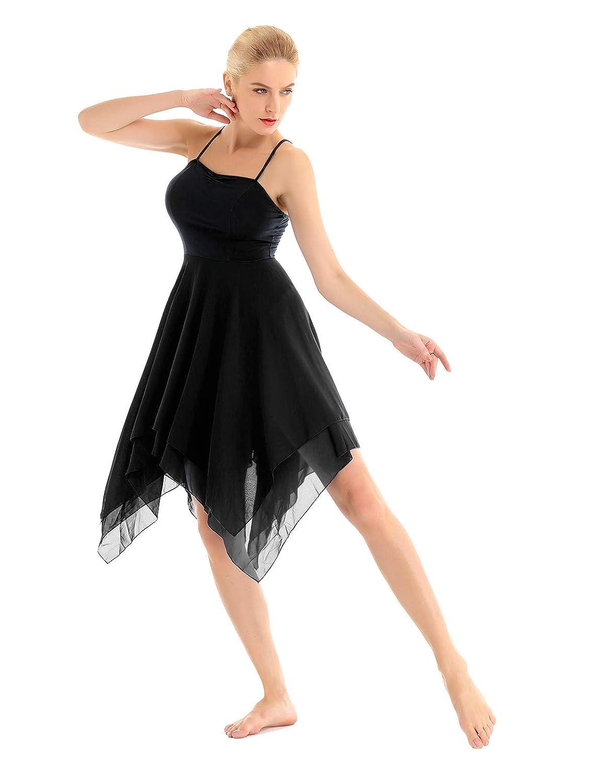 Freebily Damen Tanzkleid mit Asymmetrischen Rock Chiffon Latein Kleid Ballett Trikot Leotard Ballettanzug Tanz-Body Gymnastikanzug Performance Kleidung