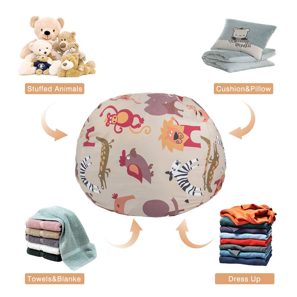 STTIAO Kids Stuffed Animal Storage Bean Bag with Carrying Handle Sturdy Cotton Bean Bag Cover Perfect for Toys and Clothes Kids Gift owl, 38