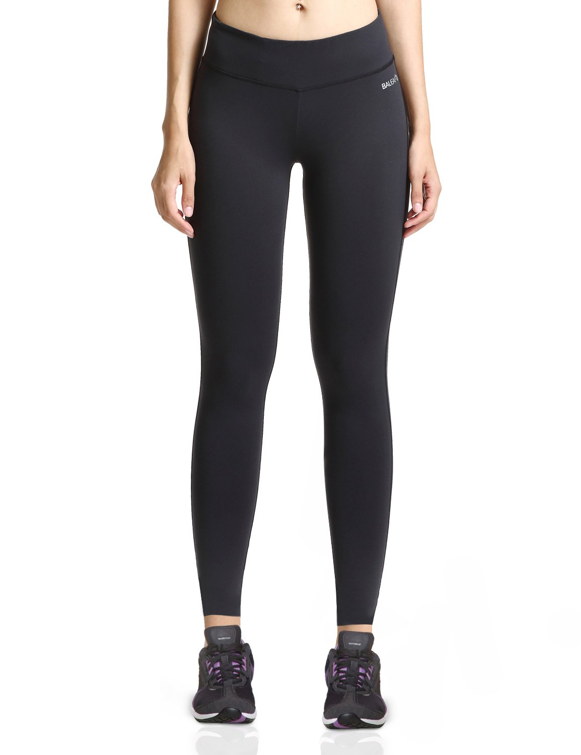 Baleaf Women's Ankle Legging Inner Pocket Non See-Through Black Size S