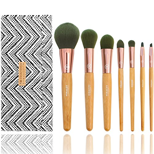 Tapered Crease Defining Brush - MIRACOS 7 Pcs Ion Makeup Brush Set Premium Cosmetic Brushes Professional Synthetic Foundation Blending Blush Lip Powder Liquid Cream Brush Kit with Bag