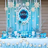 #7: Snowflake Decoration Kit 24pcs 3D Snowflake Hanging Garland Flags & 6pcs Large 3D Snowflake Holiday Hanging Ornaments & 12pcs Sticker Value Kit for Christmas/New Year Party Decorations (White)